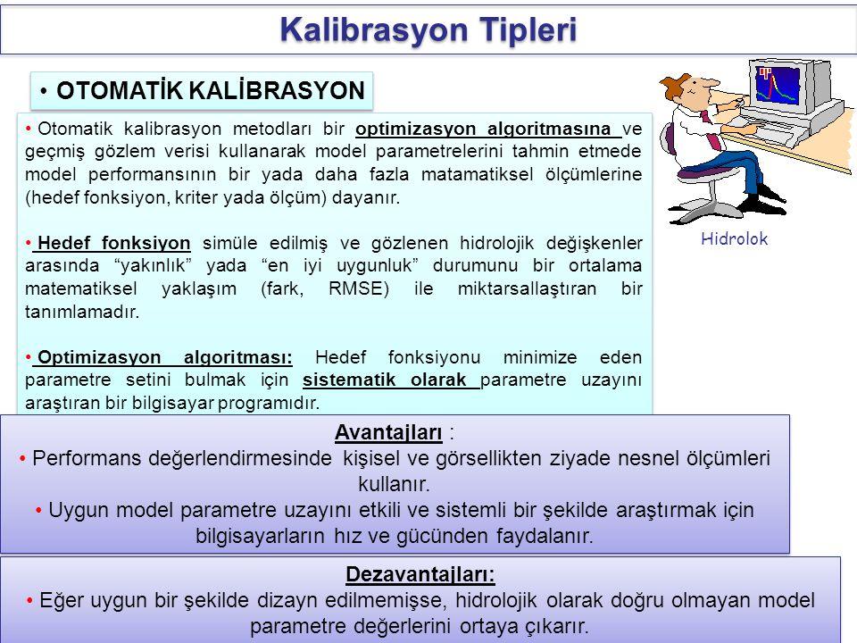 Hidrolok OTOMATİK KALİBRASYON Otomatik kalibrasyon metodları bir optimizasyon algoritmasına ve geçmiş gözlem verisi kullanarak model parametrelerini t