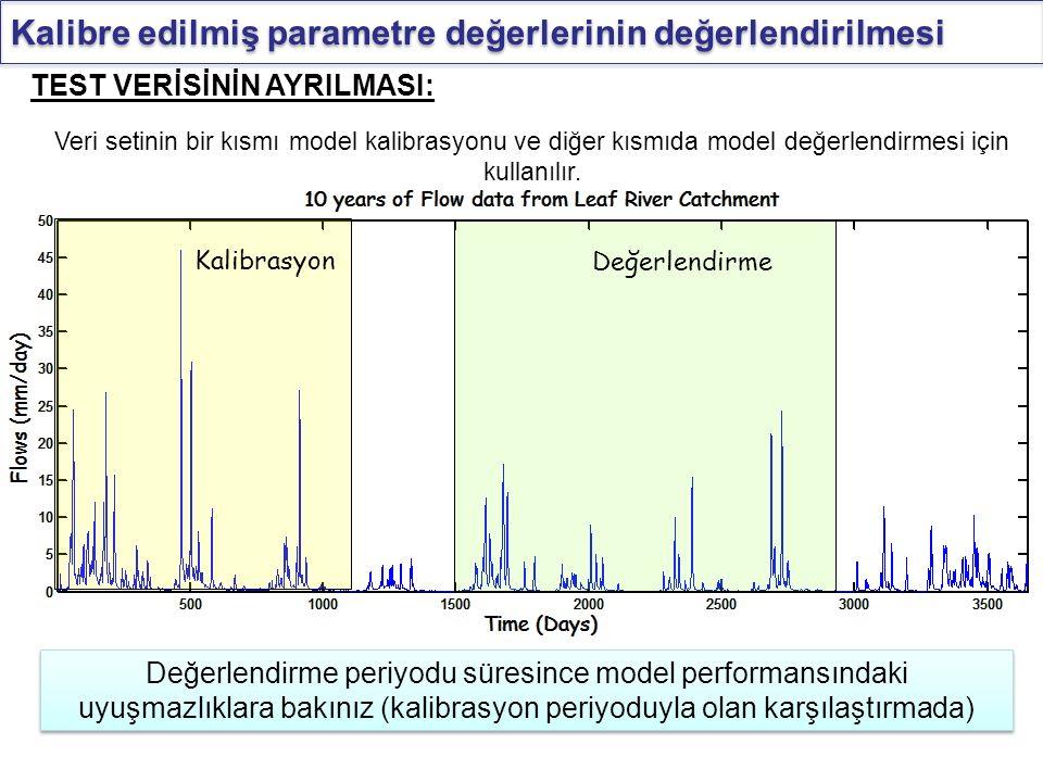 Kalibre edilmiş parametre değerlerinin değerlendirilmesi Veri setinin bir kısmı model kalibrasyonu ve diğer kısmıda model değerlendirmesi için kullanı