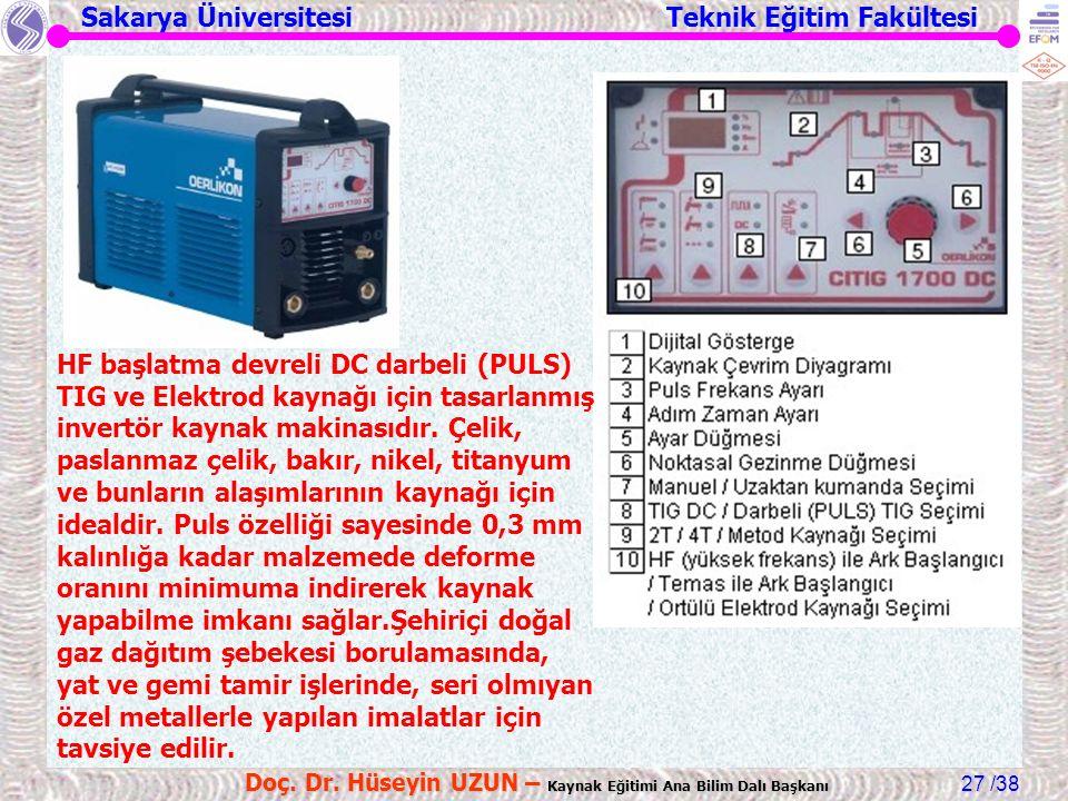 Sakarya Üniversitesi Teknik Eğitim Fakültesi /38 Doç. Dr. Hüseyin UZUN – Kaynak Eğitimi Ana Bilim Dalı Başkanı 27 HF başlatma devreli DC darbeli (PULS