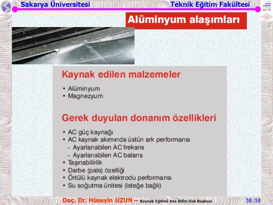 Sakarya Üniversitesi Teknik Eğitim Fakültesi /38 Doç. Dr. Hüseyin UZUN – Kaynak Eğitimi Ana Bilim Dalı Başkanı 38
