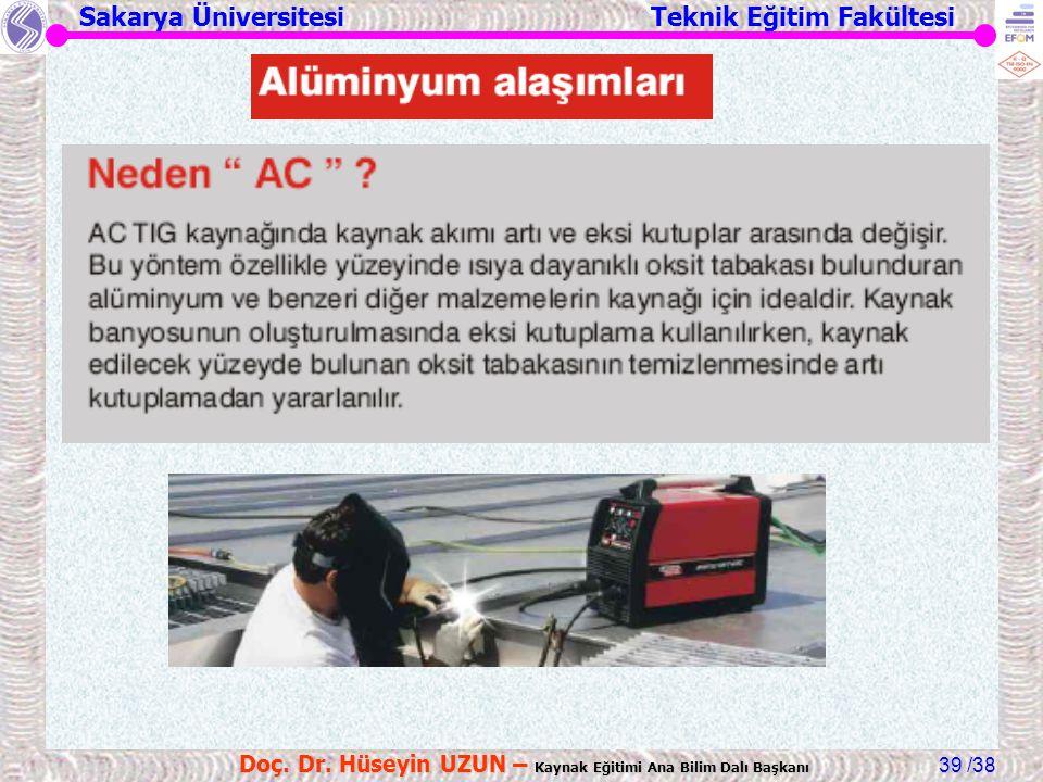 Sakarya Üniversitesi Teknik Eğitim Fakültesi /38 Doç. Dr. Hüseyin UZUN – Kaynak Eğitimi Ana Bilim Dalı Başkanı 39