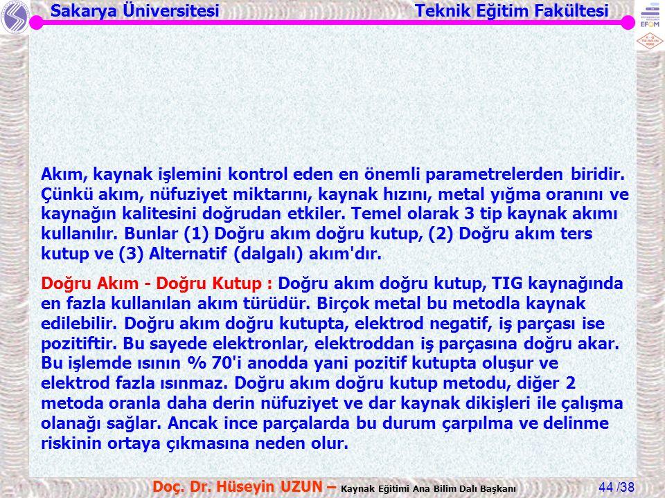 Sakarya Üniversitesi Teknik Eğitim Fakültesi /38 Doç. Dr. Hüseyin UZUN – Kaynak Eğitimi Ana Bilim Dalı Başkanı 44 Akım, kaynak işlemini kontrol eden e