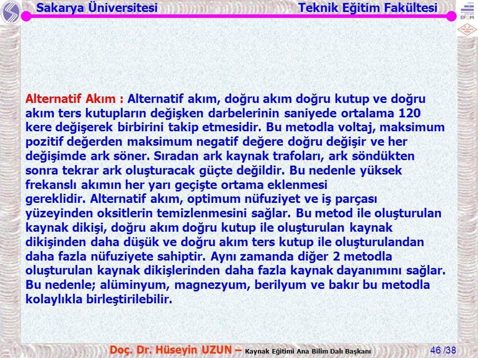 Sakarya Üniversitesi Teknik Eğitim Fakültesi /38 Doç. Dr. Hüseyin UZUN – Kaynak Eğitimi Ana Bilim Dalı Başkanı 46 Alternatif Akım : Alternatif akım, d
