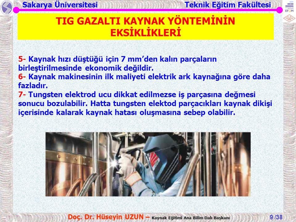 Sakarya Üniversitesi Teknik Eğitim Fakültesi /38 Doç. Dr. Hüseyin UZUN – Kaynak Eğitimi Ana Bilim Dalı Başkanı 9 5- Kaynak hızı düştüğü için 7 mm'den