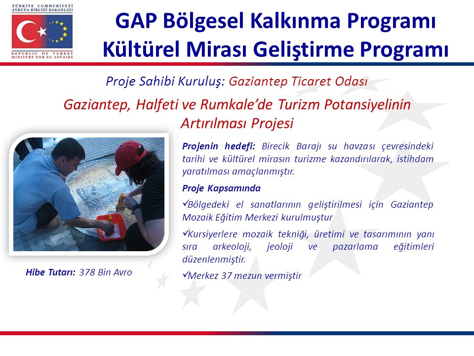 Proje Sahibi Kuruluş: Gaziantep Ticaret Odası Gaziantep, Halfeti ve Rumkale'de Turizm Potansiyelinin Artırılması Projesi Projenin hedefi: Birecik Bara