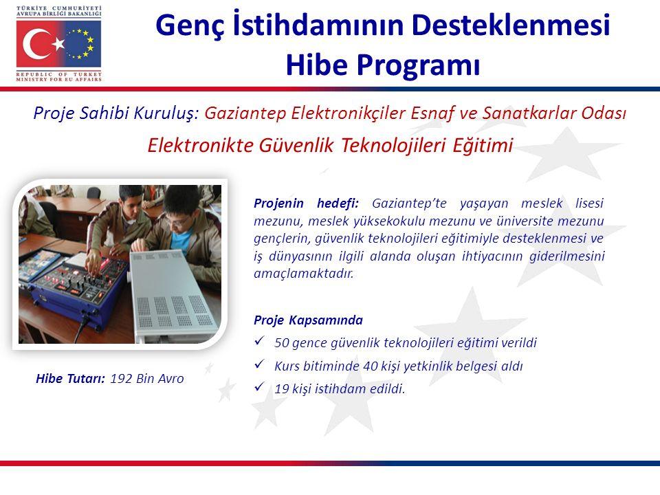 Genç İstihdamının Desteklenmesi Hibe Programı Proje Sahibi Kuruluş: Gaziantep Elektronikçiler Esnaf ve Sanatkarlar Odası Elektronikte Güvenlik Teknolo