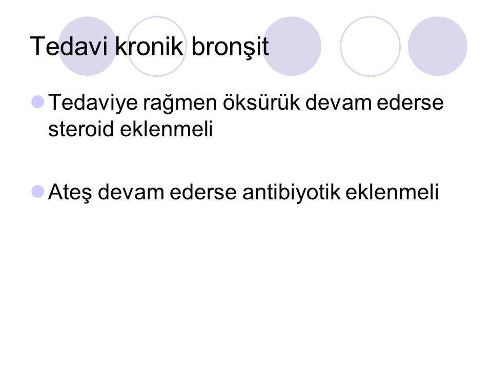 Tedavi kronik bronşit Tedaviye rağmen öksürük devam ederse steroid eklenmeli Ateş devam ederse antibiyotik eklenmeli