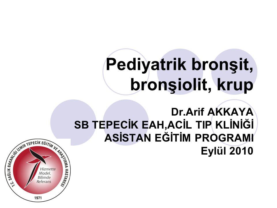 Pediyatrik bronşit, bronşiolit, krup Dr.Arif AKKAYA SB TEPECİK EAH,ACİL TIP KLİNİĞİ ASİSTAN EĞİTİM PROGRAMI Eylül 2010