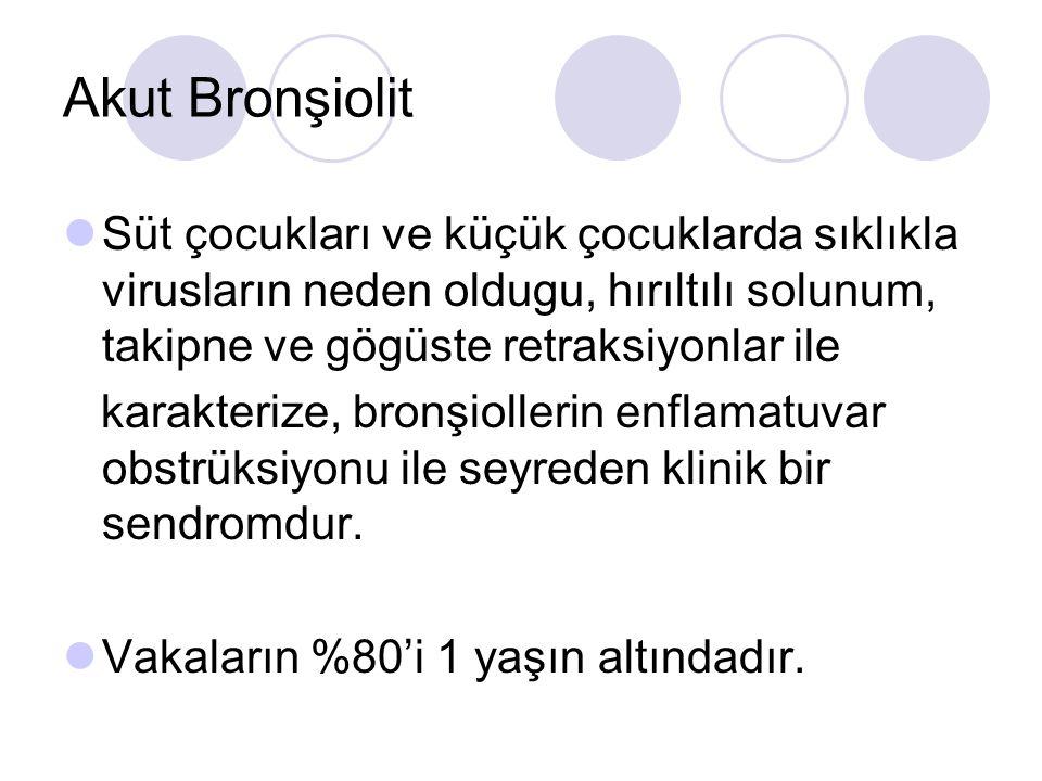 Akut Bronşiolit Süt çocukları ve küçük çocuklarda sıklıkla virusların neden oldugu, hırıltılı solunum, takipne ve gögüste retraksiyonlar ile karakterize, bronşiollerin enflamatuvar obstrüksiyonu ile seyreden klinik bir sendromdur.