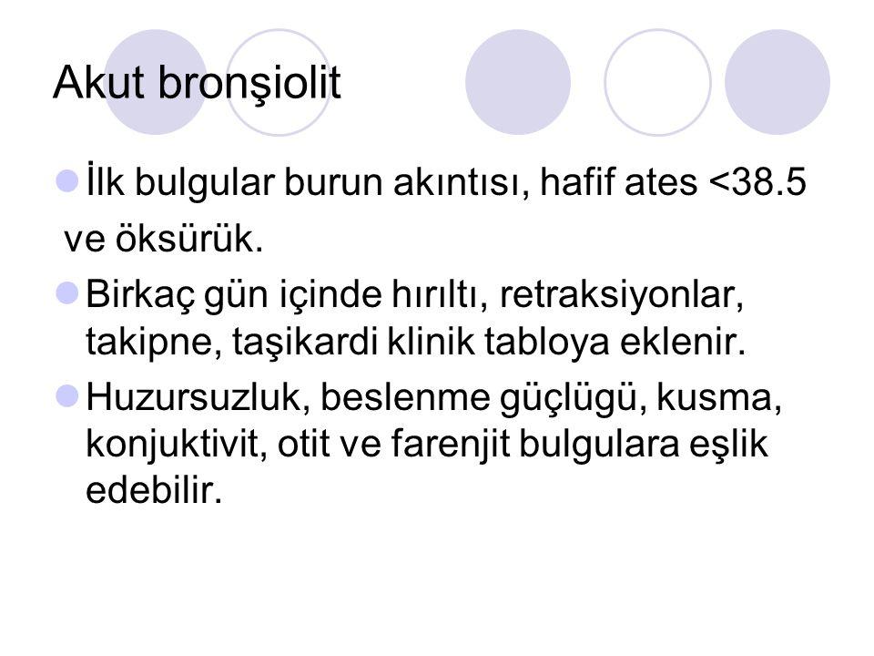 Akut bronşiolit İlk bulgular burun akıntısı, hafif ates <38.5 ve öksürük.