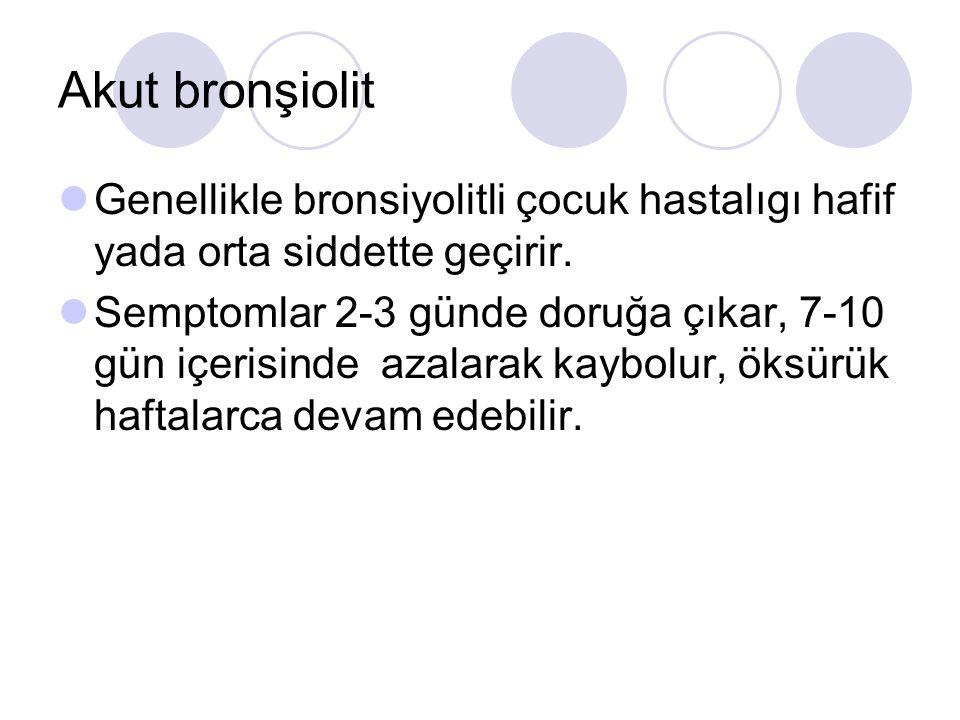 Akut bronşiolit Genellikle bronsiyolitli çocuk hastalıgı hafif yada orta siddette geçirir.