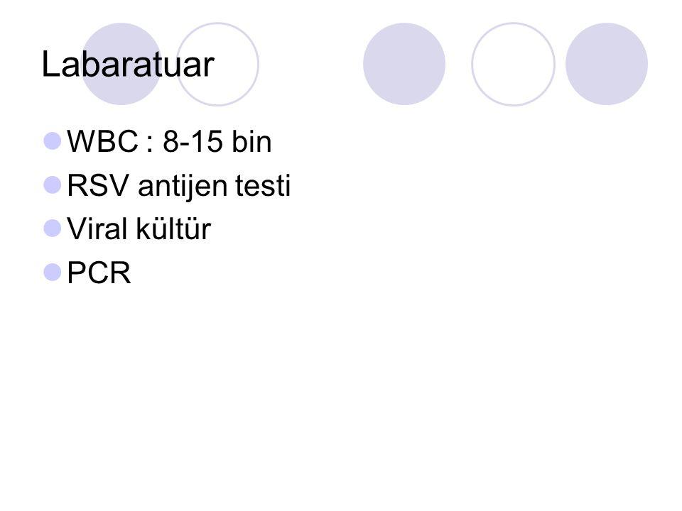 Labaratuar WBC : 8-15 bin RSV antijen testi Viral kültür PCR