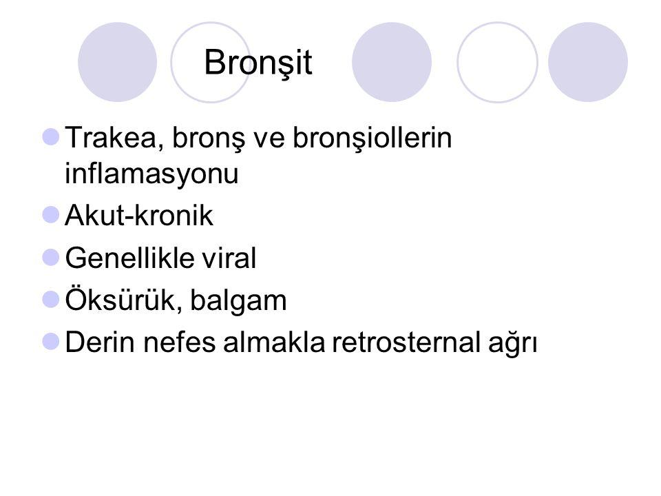 Bronşit Trakea, bronş ve bronşiollerin inflamasyonu Akut-kronik Genellikle viral Öksürük, balgam Derin nefes almakla retrosternal ağrı