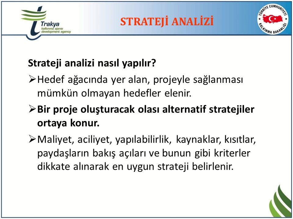 STRATEJİ ANALİZİ Strateji analizi nasıl yapılır?  Hedef ağacında yer alan, projeyle sağlanması mümkün olmayan hedefler elenir.  Bir proje oluşturaca