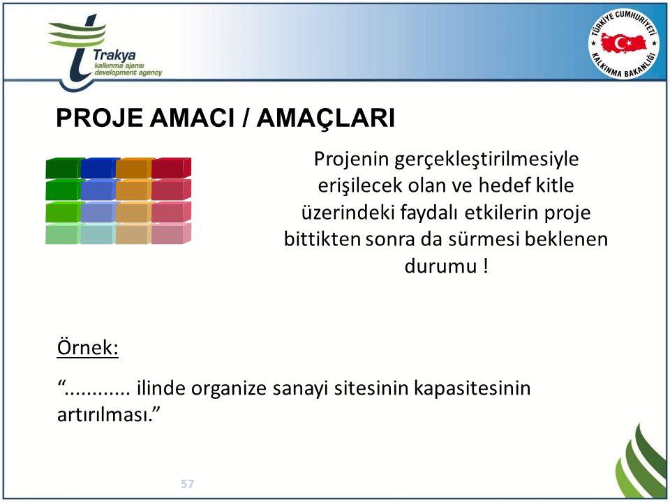 PROJE AMACI / AMAÇLARI 57 Projenin gerçekleştirilmesiyle erişilecek olan ve hedef kitle üzerindeki faydalı etkilerin proje bittikten sonra da sürmesi beklenen durumu .