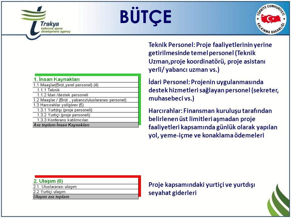 BÜTÇE Teknik Personel: Proje faaliyetlerinin yerine getirilmesinde temel personel (Teknik Uzman,proje koordinatörü, proje asistanı yerli/ yabancı uzma