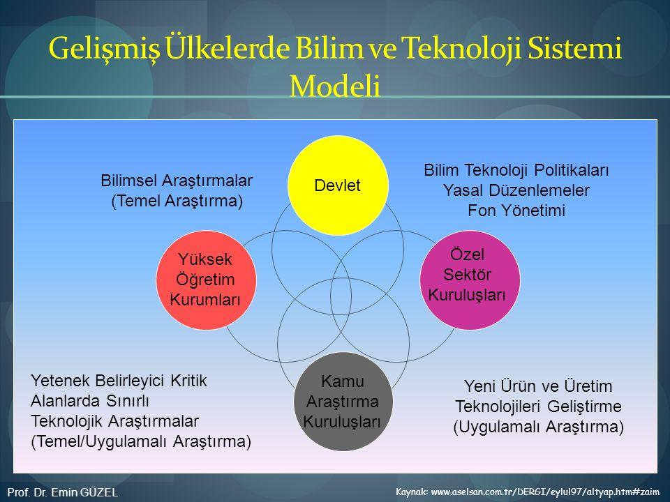 Gelişmiş Ülkelerde Bilim ve Teknoloji Sistemi Modeli Devlet Yüksek Öğretim Kurumları Özel Sektör Kuruluşları Kamu Araştırma Kuruluşları Bilimsel Araşt