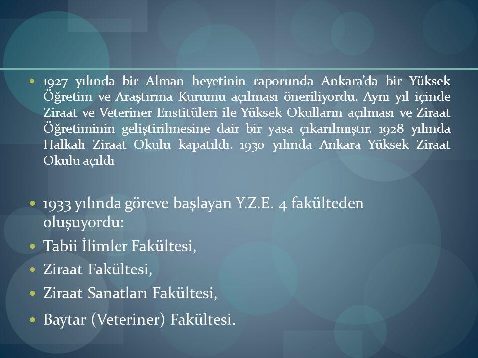 1927 yılında bir Alman heyetinin raporunda Ankara'da bir Yüksek Öğretim ve Araştırma Kurumu açılması öneriliyordu. Aynı yıl içinde Ziraat ve Veteriner