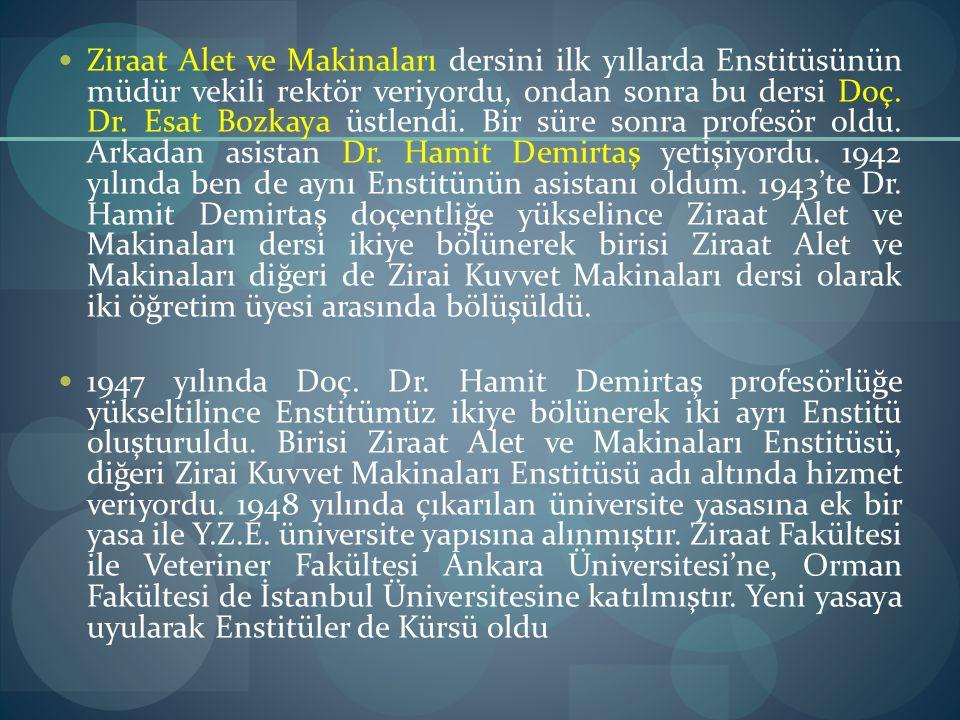 Ziraat Alet ve Makinaları dersini ilk yıllarda Enstitüsünün müdür vekili rektör veriyordu, ondan sonra bu dersi Doç. Dr. Esat Bozkaya üstlendi. Bir sü