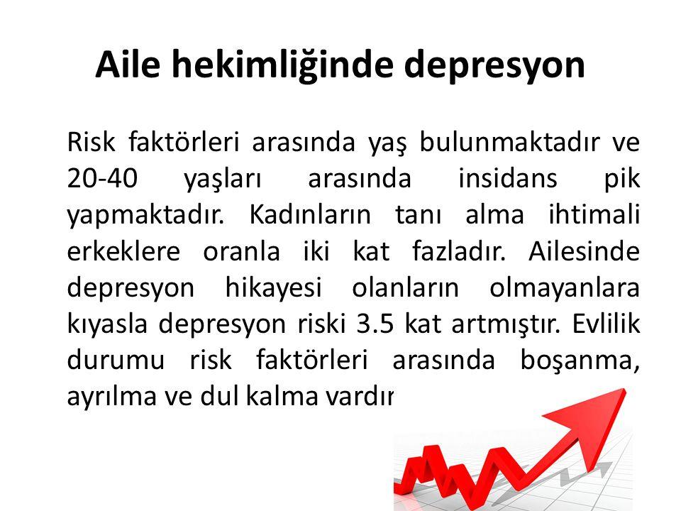Aile hekimliğinde depresyon Risk faktörleri arasında yaş bulunmaktadır ve 20-40 yaşları arasında insidans pik yapmaktadır.