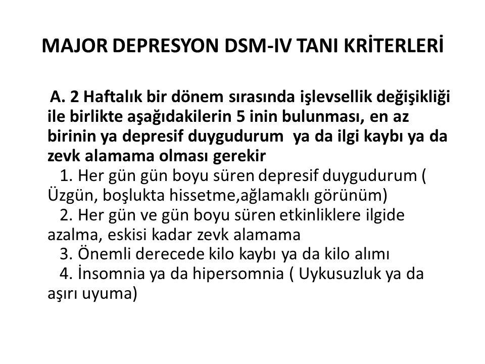 MAJOR DEPRESYON DSM-IV TANI KRİTERLERİ A.