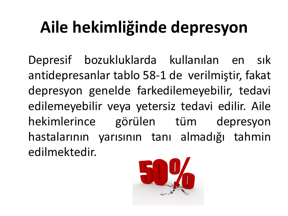 Aile hekimliğinde depresyon Depresif bozukluklarda kullanılan en sık antidepresanlar tablo 58-1 de verilmiştir, fakat depresyon genelde farkedilemeyebilir, tedavi edilemeyebilir veya yetersiz tedavi edilir.