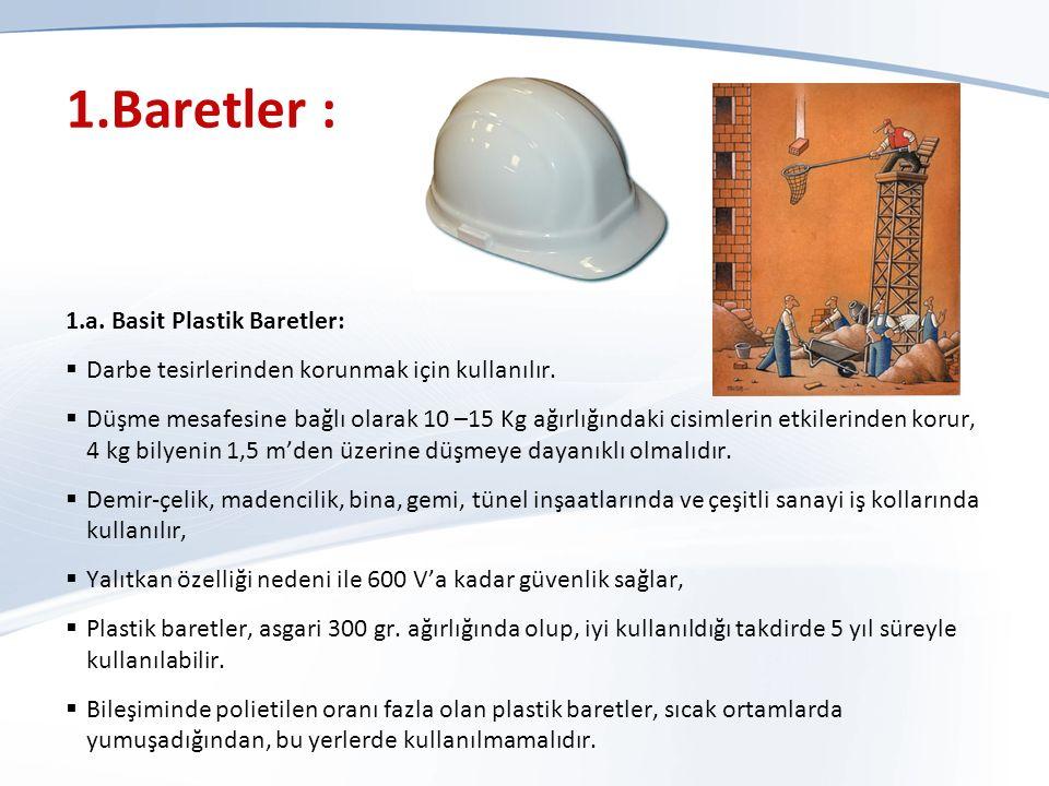 1.Baretler : 1.a.Basit Plastik Baretler:  Darbe tesirlerinden korunmak için kullanılır.