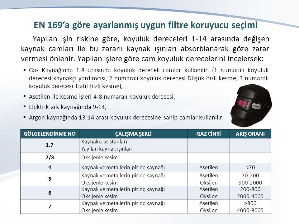 EN 169'a göre ayarlanmış uygun filtre koruyucu seçimi Yapılan işin riskine göre, koyuluk dereceleri 1-14 arasında değişen kaynak camları ile bu zararlı kaynak ışınları absorblanarak göze zarar vermesi önlenir.