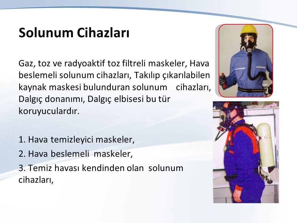 Solunum Cihazları Gaz, toz ve radyoaktif toz filtreli maskeler, Hava beslemeli solunum cihazları, Takılıp çıkarılabilen kaynak maskesi bulunduran solunum cihazları, Dalgıç donanımı, Dalgıç elbisesi bu tür koruyuculardır.