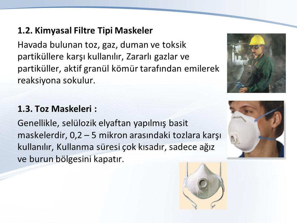 1.2. Kimyasal Filtre Tipi Maskeler Havada bulunan toz, gaz, duman ve toksik partiküllere karşı kullanılır, Zararlı gazlar ve partiküller, aktif granül
