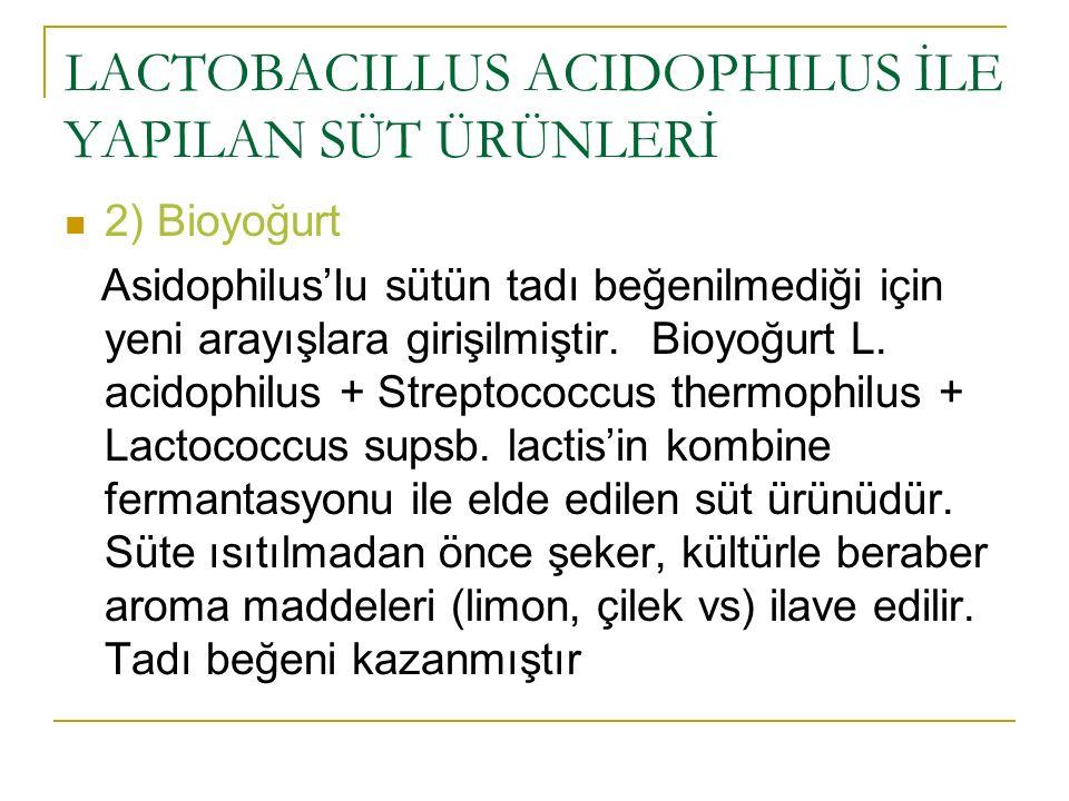 LACTOBACILLUS ACIDOPHILUS İLE YAPILAN SÜT ÜRÜNLERİ 2) Bioyoğurt Asidophilus'lu sütün tadı beğenilmediği için yeni arayışlara girişilmiştir. Bioyoğurt