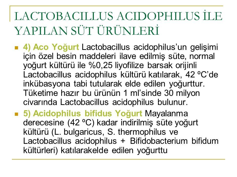 LACTOBACILLUS ACIDOPHILUS İLE YAPILAN SÜT ÜRÜNLERİ 4) Aco Yoğurt Lactobacillus acidophilus'un gelişimi için özel besin maddeleri ilave edilmiş süte, n