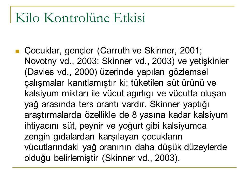 Kilo Kontrolüne Etkisi Çocuklar, gençler (Carruth ve Skinner, 2001; Novotny vd., 2003; Skinner vd., 2003) ve yetişkinler (Davies vd., 2000) üzerinde y