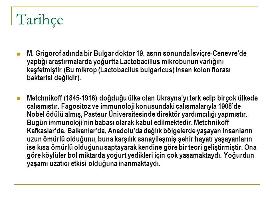 Tarihçe M. Grigorof adında bir Bulgar doktor 19. asrın sonunda İsviçre-Cenevre'de yaptığı araştırmalarda yoğurtta Lactobacillus mikrobunun varlığını k
