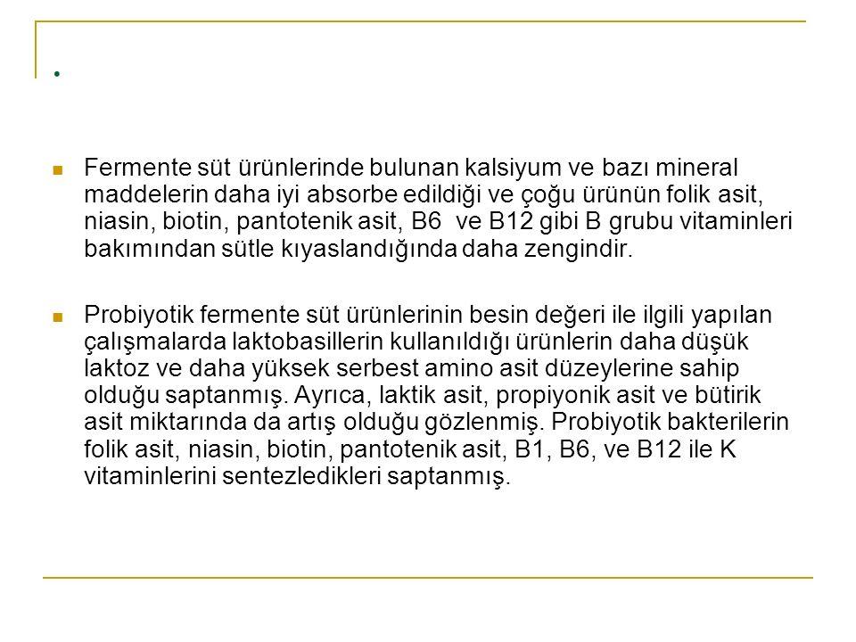 . Fermente süt ürünlerinde bulunan kalsiyum ve bazı mineral maddelerin daha iyi absorbe edildiği ve çoğu ürünün folik asit, niasin, biotin, pantotenik