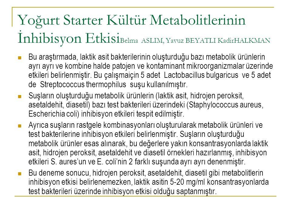 Yoğurt Starter Kültür Metabolitlerinin İnhibisyon Etkisi Belma ASLIM, Yavuz BEYATLI KadirHALKMAN Bu araştırmada, laktik asit bakterilerinin oluşturduğ