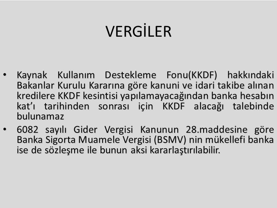 VERGİLER Kaynak Kullanım Destekleme Fonu(KKDF) hakkındaki Bakanlar Kurulu Kararına göre kanuni ve idari takibe alınan kredilere KKDF kesintisi yapılam
