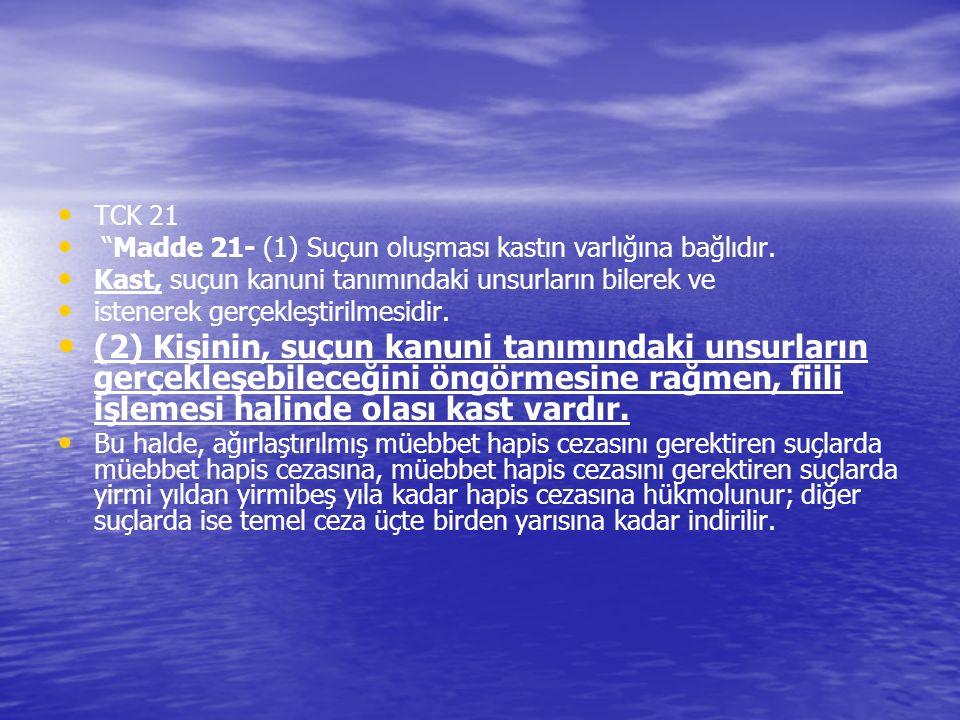 """TCK 21 """"Madde 21- (1) Suçun oluşması kastın varlığına bağlıdır. Kast, suçun kanuni tanımındaki unsurların bilerek ve istenerek gerçekleştirilmesidir."""