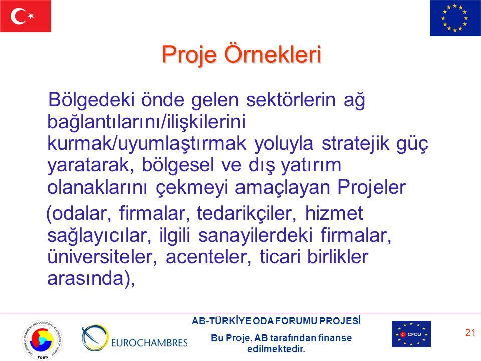 AB-TÜRKİYE ODA FORUMU PROJESİ Bu Proje, AB tarafından finanse edilmektedir. 21 Proje Örnekleri Bölgedeki önde gelen sektörlerin ağ bağlantılarını/iliş