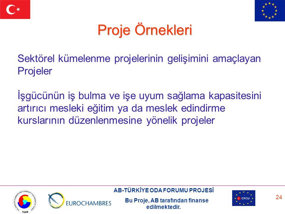 AB-TÜRKİYE ODA FORUMU PROJESİ Bu Proje, AB tarafından finanse edilmektedir. 24 Proje Örnekleri Sektörel kümelenme projelerinin gelişimini amaçlayan Pr