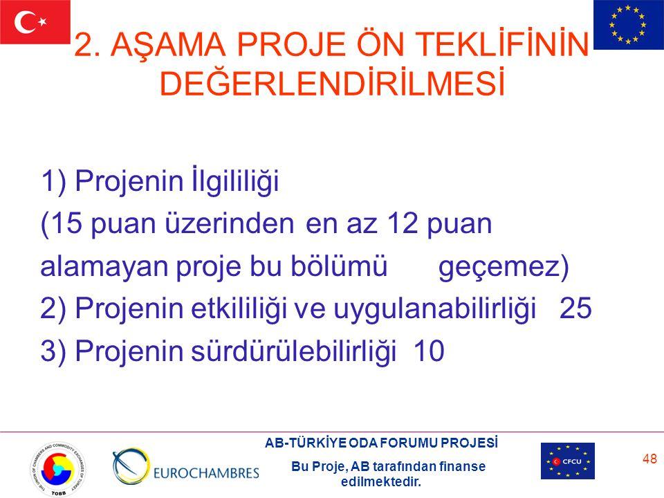 AB-TÜRKİYE ODA FORUMU PROJESİ Bu Proje, AB tarafından finanse edilmektedir. 48 2. AŞAMA PROJE ÖN TEKLİFİNİN DEĞERLENDİRİLMESİ 1) Projenin İlgililiği (