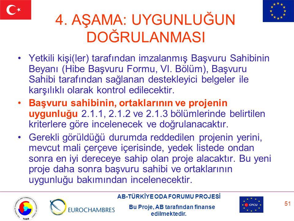 AB-TÜRKİYE ODA FORUMU PROJESİ Bu Proje, AB tarafından finanse edilmektedir. 51 4. AŞAMA: UYGUNLUĞUN DOĞRULANMASI Yetkili kişi(ler) tarafından imzalanm