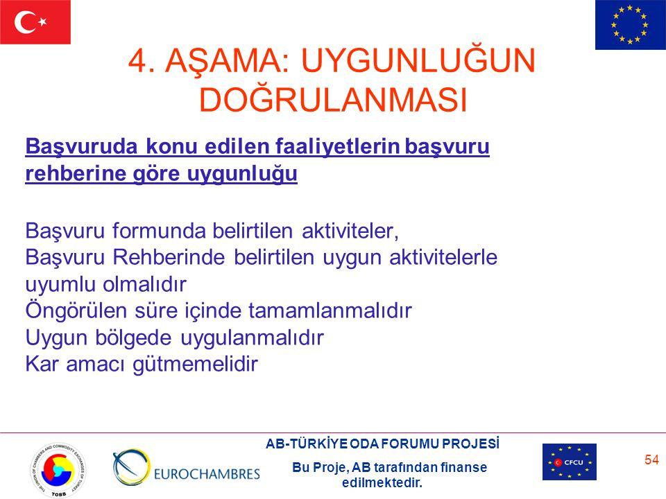 AB-TÜRKİYE ODA FORUMU PROJESİ Bu Proje, AB tarafından finanse edilmektedir. 54 4. AŞAMA: UYGUNLUĞUN DOĞRULANMASI Başvuruda konu edilen faaliyetlerin b