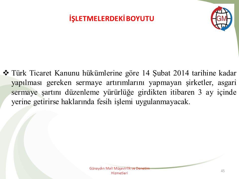 45 İŞLETMELERDEKİ BOYUTU  Türk Ticaret Kanunu hükümlerine göre 14 Şubat 2014 tarihine kadar yapılması gereken sermaye artırımlarını yapmayan şirketler, asgari sermaye şartını düzenleme yürürlüğe girdikten itibaren 3 ay içinde yerine getirirse haklarında fesih işlemi uygulanmayacak.