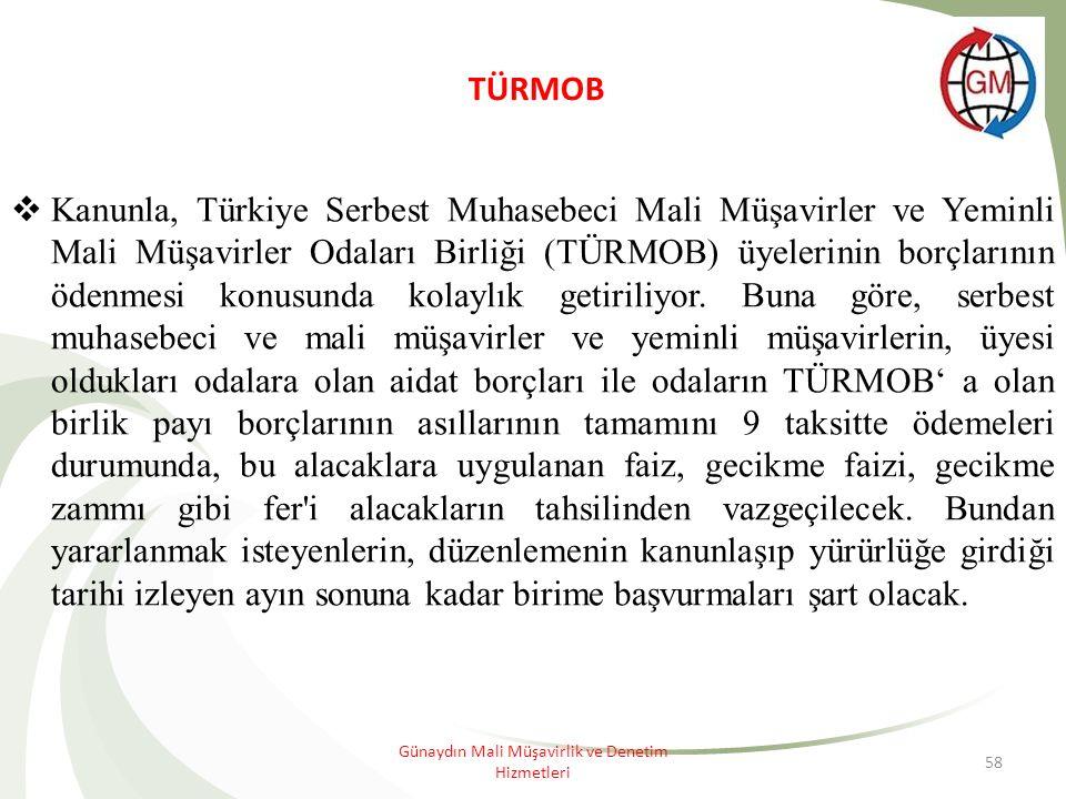 58 TÜRMOB  Kanunla, Türkiye Serbest Muhasebeci Mali Müşavirler ve Yeminli Mali Müşavirler Odaları Birliği (TÜRMOB) üyelerinin borçlarının ödenmesi konusunda kolaylık getiriliyor.