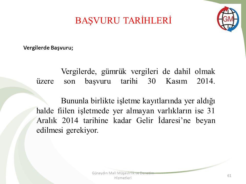 Günaydın Mali Müşavirlik ve Denetim Hizmetleri 61 BAŞVURU TARİHLERİ Vergilerde Başvuru; Vergilerde, gümrük vergileri de dahil olmak üzere son başvuru tarihi 30 Kasım 2014.