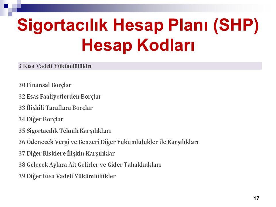Sigortacılık Hesap Planı (SHP) Hesap Kodları 17