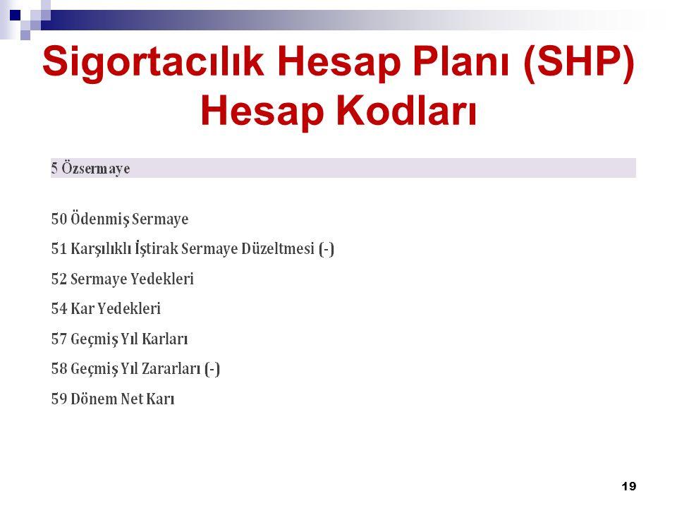 Sigortacılık Hesap Planı (SHP) Hesap Kodları 19