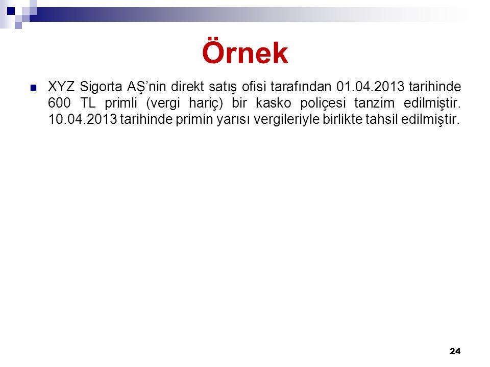 Örnek XYZ Sigorta AŞ'nin direkt satış ofisi tarafından 01.04.2013 tarihinde 600 TL primli (vergi hariç) bir kasko poliçesi tanzim edilmiştir. 10.04.20