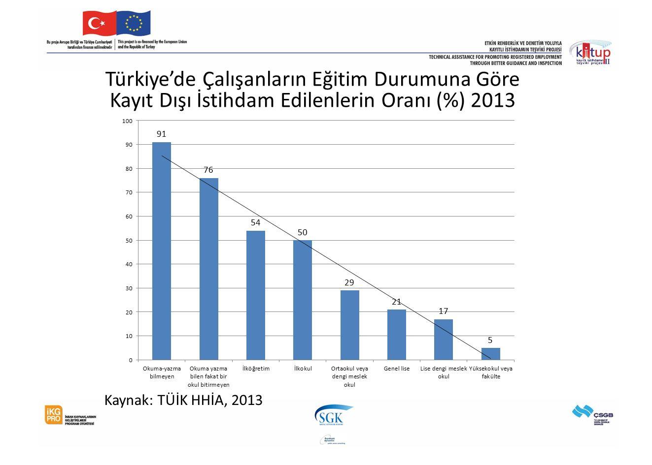 Türkiye'de Çalışanların Eğitim Durumuna Göre Kayıt Dışı İstihdam Edilenlerin Oranı (%) 2013 Kaynak: TÜİK HHİA, 2013